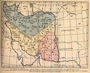نواحی تقسیم شده ایران بین روسیه (سبز) و بریتانیای کبیر (قرمز)، مناطق بی طرف (زرد)