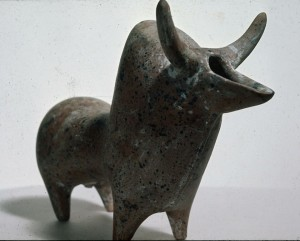 Spouted vessel in the shape of a bull