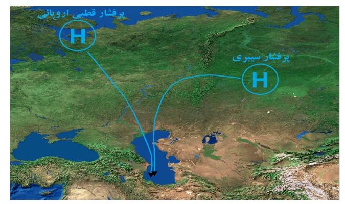 شکل (۳)/ موقعیت سامانههای پرفشار بر روی سیبری و مناطق قطبی روسیه به همراه جهت حرکت آن به سمت منطقه گیلان.