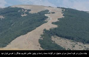 تخریب جنگل در گوشه پائین سمت راست و جاده در کوه آسمان سرای منجیل
