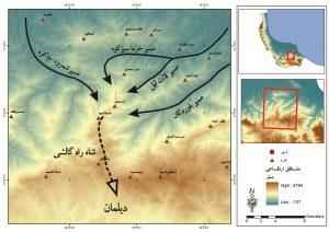 شکل(4)پیکانها جهت نسبی و ارتباط گالشهای هر منطقهی جغرافیایی را با خطالراس طلایی (شاهراه) گالشها نشان میدهد.